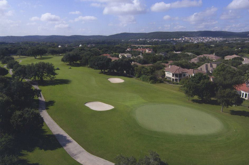 Aerial shot of golf green.